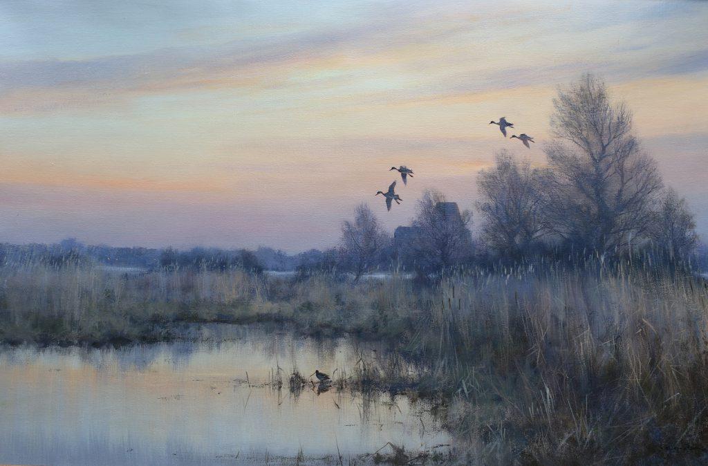 Evening Flight at Norfolk - Colin Burns - Oil on Canvas