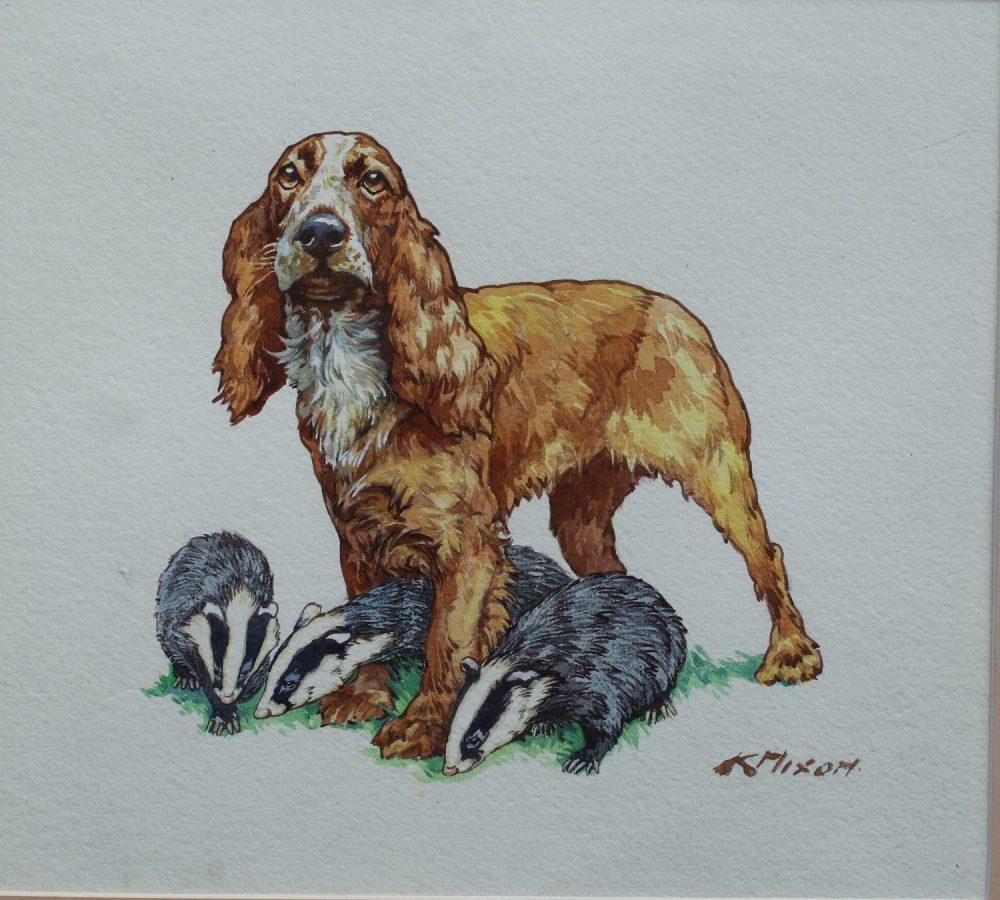 Spaniel with Badgers - Kay Nixon - Watercolour