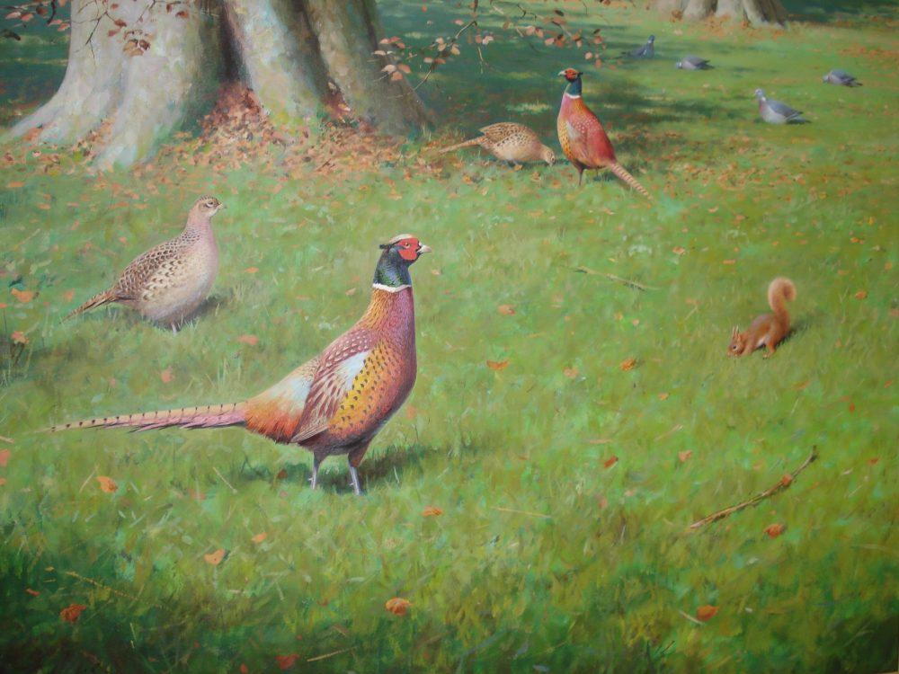 Autumn Pheasants Rodger McPhail Watercolour