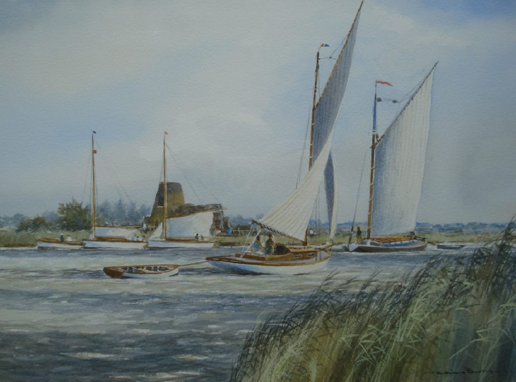 Watercolour - Colin Burns at St Bennets Abbey, Norfolk