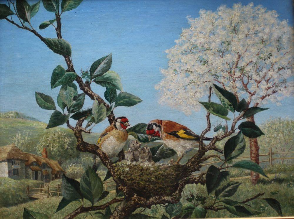 Goldfinches at Nest - Adolf Dietricks - Oil on Canvas