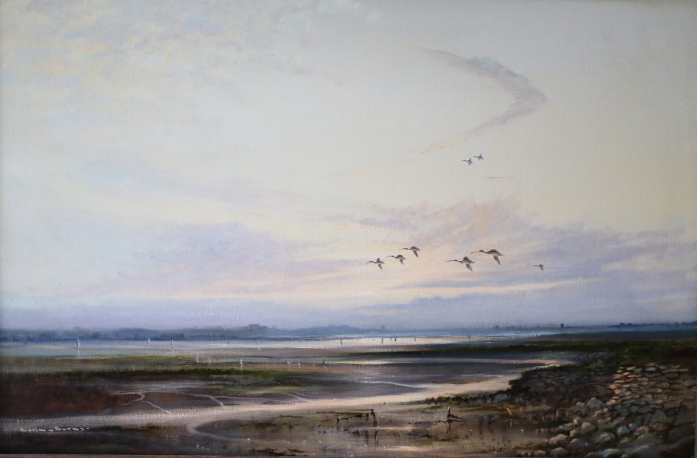 Curlews At Breydon Water - C Burns - Watercolour