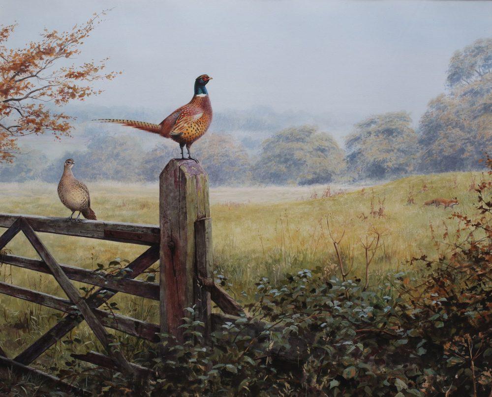 Pheasants on the Alert - Rodger McPhail - Watercolour