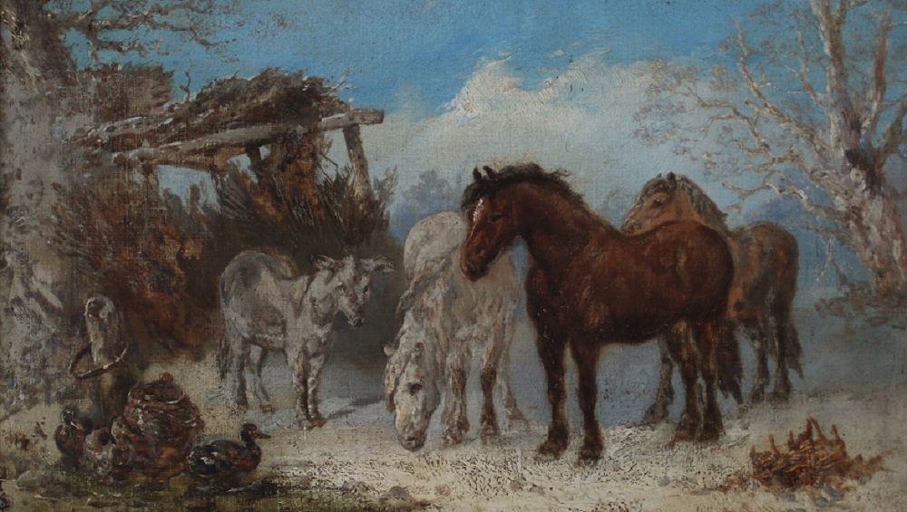 Horses and Donkeys - Harden S Melville - Oil on Canvas