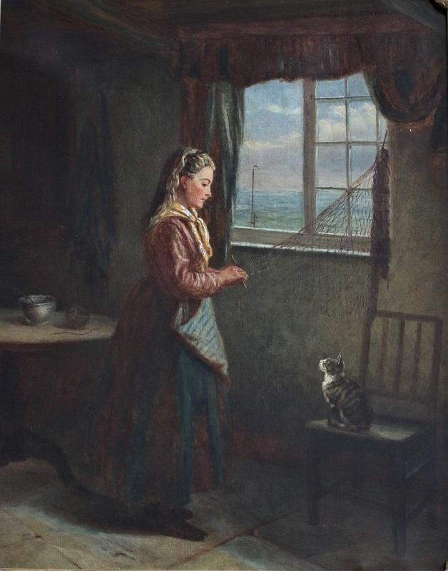 Mending Fishing Nets - John F Pasmore - Oil